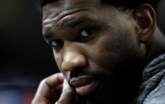 CHICAGO, ILLINOIS - FEBRUARY 15: Joel Embiid of the Philadelphia 76ers speaks to the media during 2020 NBA All-Star - Practice & Media Day at Wintrust Arena on February 15, 2020 in Chicago, Illinois. NOTE TO USER: User expressly acknowledges and agrees that, by downloading and or using this photograph, User is consenting to the terms and conditions of the Getty Images License Agreement. (Photo by Jonathan Daniel/Getty Images)