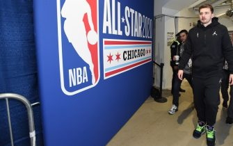 CHICAGO, IL - FEBRUARY 15: Luka Doncic of Team LeBron arrives during Practice and Media Availability presented by AT&T as part of 2020 NBA All-Star Weekend on February 15, 2020 at Wintrust Arena in Chicago, Illinois. NOTE TO USER: User expressly acknowledges and agrees that, by downloading and/or using this Photograph, user is consenting to the terms and conditions of the Getty Images License Agreement. Mandatory Copyright Notice: Copyright 2020 NBAE (Photo by Juan Ocampo/NBAE via Getty Images)