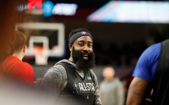 CHICAGO, IL - FEBRUARY 15: James Harden  of Team LeBron during Practice and Media Availability presented by AT&T as part of 2020 NBA All-Star Weekend on February 15, 2020 at Wintrust Arena in Chicago, Illinois. NOTE TO USER: User expressly acknowledges and agrees that, by downloading and/or using this Photograph, user is consenting to the terms and conditions of the Getty Images License Agreement. Mandatory Copyright Notice: Copyright 2020 NBAE (Photo by Tyler Kaufman/NBAE via Getty Images)