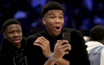 CHICAGO, ILLINOIS - FEBRUARY 15: Giannis Antetokounmpo of the Milwaukee Bucks looks on in the 2020 NBA All-Star - AT&T Slam Dunk Contest during State Farm All-Star Saturday Night at the United Center on February 15, 2020 in Chicago, Illinois. NOTE TO USER: User expressly acknowledges and agrees that, by downloading and or using this photograph, User is consenting to the terms and conditions of the Getty Images License Agreement. (Photo by Jonathan Daniel/Getty Images)