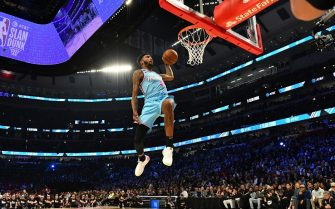 CHICAGO, IL - FEBRUARY 15: Derrick Jones Jr. #5 of the Miami Heat participates in the 2020 NBA All-Star - AT&T Slam Dunk on February 15, 2020 at the United Center in Chicago, Illinois. NOTE TO USER: User expressly acknowledges and agrees that, by downloading and or using this photograph, User is consenting to the terms and conditions of the Getty Images License Agreement. Mandatory Copyright Notice: Copyright 2020 NBAE (Photo by Jesse D. Garrabrant/NBAE via Getty Images)
