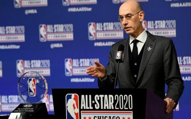 CHICAGO, ILLINOIS - FEBRUARY 15: NBA Commissioner Adam Silver speaks to the media during a press conference at the United Center on February 15, 2020 in Chicago, Illinois. NOTE TO USER: User expressly acknowledges and agrees that, by downloading and or using this photograph, User is consenting to the terms and conditions of the Getty Images License Agreement. (Photo by Stacy Revere/Getty Images)