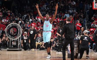 CHICAGO, IL - FEBRUARY 15: Bam Adebayo #13 of the Miami Heat reacts to play during the 2020 NBA All-Star - Taco Bell Skills Challenge on February 15, 2020 at the United Center in Chicago, Illinois. NOTE TO USER: User expressly acknowledges and agrees that, by downloading and or using this photograph, User is consenting to the terms and conditions of the Getty Images License Agreement. Mandatory Copyright Notice: Copyright 2020 NBAE (Photo by Nathaniel S. Butler/NBAE via Getty Images)