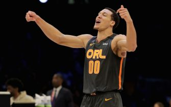 CHICAGO, ILLINOIS - FEBRUARY 15: Aaron Gordon #00 of the Orlando Magic reacts after a dunk in the 2020 NBA All-Star - AT&T Slam Dunk Contest during State Farm All-Star Saturday Night at the United Center on February 15, 2020 in Chicago, Illinois. NOTE TO USER: User expressly acknowledges and agrees that, by downloading and or using this photograph, User is consenting to the terms and conditions of the Getty Images License Agreement. (Photo by Jonathan Daniel/Getty Images)