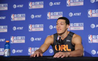 CHICAGO, IL - FEBRUARY 15:  Aaron Gordon #00 of the Orlando Magic  talks to the media during NBA All-Star Saturday Night Presented by State Farm as part of 2020 NBA All-Star Weekend on February 15, 2020 at United Center in Chicago, Illinois. NOTE TO USER: User expressly acknowledges and agrees that, by downloading and/or using this Photograph, user is consenting to the terms and conditions of the Getty Images License Agreement. Mandatory Copyright Notice: Copyright 2020 NBAE (Photo by Eddy Matchette/NBAE via Getty Images)