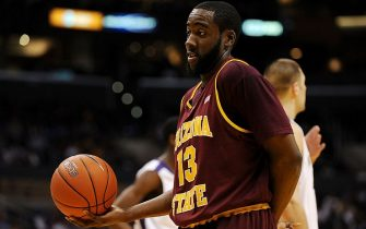 LOS ANGELES, CA - MARCH 13:  Guard James Harden #13 of the Arizona State Sun Devils holds the ball after a play against the Washington Huskies in the Pacific Life Pac-10 Men's Basketball Tournament at the Staples Center on March 13, 2009 in Los Angeles, California.  (Photo by Harry How/Getty Images)