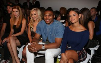 NEW YORK, NY - SEPTEMBER 09:  (L-R) Bella Thorne, Nastia Liukin, Russell Westbrook and Rocsi Diaz attend the JBurgos presentation during Nolcha Fashion Week Spring 2015 at Eyebeam on September 9, 2014 in New York City.  (Photo by Johnny Nunez/WireImage)