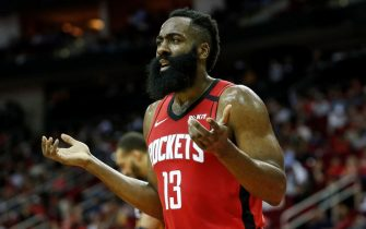 HOUSTON, TEXAS - FEBRUARY 09: James Harden #13 of the Houston Rockets react in the second half against the Utah Jazz at Toyota Center on February 09, 2020 in Houston, Texas.  NOTE TO USER: User expressly acknowledges and agrees that, by downloading and or using this photograph, User is consenting to the terms and conditions of the Getty Images License Agreement. (Photo by Tim Warner/Getty Images)