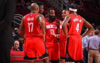 HOUSTON, TX - October 24 : The Houston Rockets huddle up during a game against the Milwaukee Bucks on October 24, 2019 at the Toyota Center in Houston, Texas. NOTE TO USER: User expressly acknowledges and agrees that, by downloading and or using this photograph, User is consenting to the terms and conditions of the Getty Images License Agreement. Mandatory Copyright Notice: Copyright 2019 NBAE (Photo by Bill Baptist/NBAE via Getty Images)