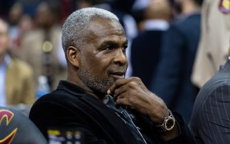 CLEVELAND, OH - FEBRUARY 23: Former NBA player  Charles Oakley sits court side prior to the game between the Cleveland Cavaliers and the New York Knicks at Quicken Loans Arena on February 15, 2017 in Cleveland, Ohio. NOTE TO USER: User expressly acknowledges and agrees that, by downloading and/or using this photograph, user is consenting to the terms and conditions of the Getty Images License Agreement. (Photo by Jason Miller/Getty Images)
