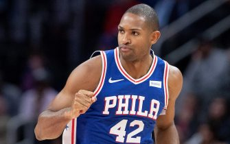 DETROIT, MI - OCTOBER 26: Al Horford #42 of the Philadelphia 76ers runs up the court during the second quarter of the game against the Detroit Pistons  at Little Caesars Arena on October 26, 2019 in Detroit, Michigan. Philadelphia defeated Detroit 117-111. NOTE TO USER: User expressly acknowledges and agrees that, by downloading and or using this photograph, User is consenting to the terms and conditions of the Getty Images License Agreement (Photo by Leon Halip/Getty Images)