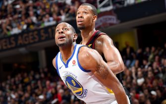 CLEVELAND, OH - JUNE 8: Andre Iguodala #9 of the Golden State Warriors boxes out against Rodney Hood #1 of the Cleveland Cavaliers during Game Four of the 2018 NBA Finals on June 8, 2018 at Quicken Loans Arena in Cleveland, Ohio. NOTE TO USER: User expressly acknowledges and agrees that, by downloading and or using this Photograph, user is consenting to the terms and conditions of the Getty Images License Agreement. Mandatory Copyright Notice: Copyright 2018 NBAE (Photo by Andrew D. Bernstein/NBAE via Getty Images)