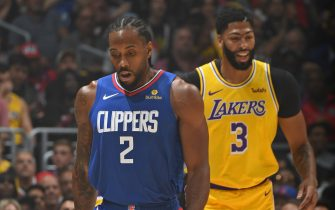 LOS ANGELES, CA - OCTOBER 22: Kawhi Leonard #2 of the LA Clippers and Anthony Davis #3 of the Los Angeles Lakers walk up court on October 22, 2019 at STAPLES Center in Los Angeles, California. NOTE TO USER: User expressly acknowledges and agrees that, by downloading and/or using this Photograph, user is consenting to the terms and conditions of the Getty Images License Agreement. Mandatory Copyright Notice: Copyright 2019 NBAE (Photo by Andrew D. Bernstein/NBAE via Getty Images)