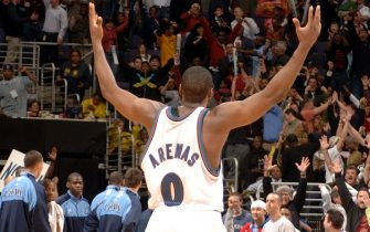 WASHINGTON - JANUARY 15:  Gilbert Arenas #0 of the Washington WIzards celebrates the winning shot against the Utah Jazz on January 15, 2007 at the Verizon Center in Washington, DC.  NOTE TO USER: User expressly acknowledges and agrees that, by downloading and or using this photograph, User is consenting to the terms and conditions of the Getty Images License Agreement.  Mandatory Copyright Notice:  Copyright 2007 NBAE  (Photo by Mitchell Layton/NBAE via Getty Images)