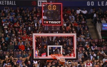 TORONTO, ON - MARCH 29: A view of the Tissot shot clock as DeMar DeRozan #10 of the Toronto Raptors sinks a buzzer beater at the end of the second quarter against the Charlotte Hornets during NBA game action at Air Canada Centre on March 29, 2017 in Toronto, Canada. NOTE TO USER: User expressly acknowledges and agrees that, by downloading and or using this photograph, User is consenting to the terms and conditions of the Getty Images License Agreement. (Photo by Tom Szczerbowski/Getty Images)