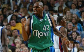 DALLAS - NOVEMBER 19:  Jerry Stackhouse #42 of the Dallas Mavericks reacts during the game against the New York Knicks at American Airlines Arena on November 19, 2004 in Dallas, Texas.  The Mavericks won 103-101.  NOTE TO USER: User expressly acknowledges and agrees that, by downloading and/or using this Photograph, user is consenting to the terms and conditions of the Getty Images License Agreement. Mandatory Copyright Notice: Copyright 2004 NBAE  (Photo by Glenn James/NBAE via Getty Images)