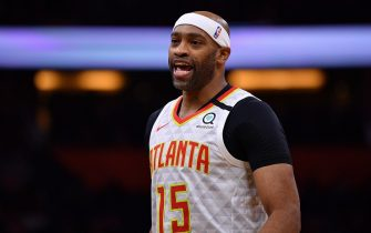 ORLANDO, FLORIDA - FEBRUARY 10: Vince Carter #15 of the Atlanta Hawks in action in the first half against the Orlando Magic at Amway Center on February 10, 2020 in Orlando, Florida.  NOTE TO USER: User expressly acknowledges and agrees that, by downloading and/or using this photograph, user is consenting to the terms and conditions of the Getty Images License Agreement.  (Photo by Mark Brown/Getty Images)