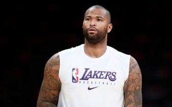 LOS ANGELES, CA - DECEMBER 25: A close up shot of DeMarcus Cousins #15 of the Los Angeles Lakers warming up before the game against the LA Clippers on December 25, 2019 at STAPLES Center in Los Angeles, California. NOTE TO USER: User expressly acknowledges and agrees that, by downloading and/or using this Photograph, user is consenting to the terms and conditions of the Getty Images License Agreement. Mandatory Copyright Notice: Copyright 2019 NBAE (Photo by Chris Elise/NBAE via Getty Images)