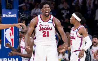 PHILADELPHIA, PA - FEBRUARY 20: Joel Embiid #21 of the Philadelphia 76ers reacts at the end of the fourth quarter against the Brooklyn Nets at the Wells Fargo Center on February 20, 2020 in Philadelphia, Pennsylvania. The 76ers defeated the Nets 112-104 in overtime. NOTE TO USER: User expressly acknowledges and agrees that, by downloading and/or using this photograph, user is consenting to the terms and conditions of the Getty Images License Agreement. (Photo by Mitchell Leff/Getty Images)