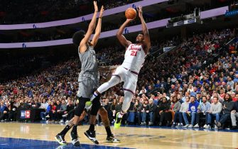 PHILADELPHIA, PA - FEBRUARY 20: Joel Embiid #21 of the Philadelphia 76ers shoots the ball against the Brooklyn Nets on February 20, 2020 at the Wells Fargo Center in Philadelphia, Pennsylvania NOTE TO USER: User expressly acknowledges and agrees that, by downloading and/or using this Photograph, user is consenting to the terms and conditions of the Getty Images License Agreement. Mandatory Copyright Notice: Copyright 2020 NBAE (Photo by Jesse D. Garrabrant/NBAE via Getty Images)