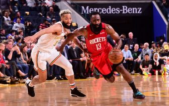SAN FRANCISCO, CA - FEBRUARY 20: James Harden #13 of the Houston Rockets handles the ball against the Golden State Warriors on February 20, 2020 at Chase Center in San Francisco, California. NOTE TO USER: User expressly acknowledges and agrees that, by downloading and or using this photograph, user is consenting to the terms and conditions of Getty Images License Agreement. Mandatory Copyright Notice: Copyright 2020 NBAE (Photo by Noah Graham/NBAE via Getty Images)
