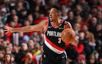 PORTLAND, OR - FEBRUARY 21: CJ McCollum #3 of the Portland Trail Blazers handles the ball during a game against the New Orleans Pelicans on February 21, 2020 at the Moda Center Arena in Portland, Oregon. NOTE TO USER: User expressly acknowledges and agrees that, by downloading and or using this photograph, user is consenting to the terms and conditions of the Getty Images License Agreement. Mandatory Copyright Notice: Copyright 2020 NBAE (Photo by Sam Forencich/NBAE via Getty Images)
