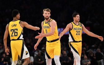 NEW YORK, NEW YORK - FEBRUARY 21: Jeremy Lamb #26, Domantas Sabonis #11, and Doug McDermott #20 of the Indiana Pacers high-five during the first half against the New York Knicks at Madison Square Garden on February 21, 2020 in New York City. The Indiana Pacers won 106-98. NOTE TO USER: User expressly acknowledges and agrees that, by downloading and or using this photograph, User is consenting to the terms and conditions of the Getty Images License Agreement. (Photo by Sarah Stier/Getty Images)