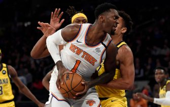 NEW YORK, NEW YORK - FEBRUARY 21: Bobby Portis #1 of the New York Knicks drives toward the basket during the second half against the Indiana Pacers at Madison Square Garden on February 21, 2020 in New York City. NOTE TO USER: User expressly acknowledges and agrees that, by downloading and or using this photograph, User is consenting to the terms and conditions of the Getty Images License Agreement. (Photo by Sarah Stier/Getty Images)