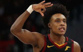 WASHINGTON, DC - FEBRUARY 21: Collin Sexton #2 of the Cleveland Cavaliers celebrates his three-pointer against the Washington Wizards during the second half at Capital One Arena on February 21, 2020 in Washington, DC. (Photo by Patrick Smith/Getty Images)
