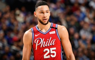 PHILADELPHIA, PA - FEBRUARY 11: Ben Simmons #25 of the Philadelphia 76ers looks on during a game against the LA Clippers on February 11, 2020 at the Wells Fargo Center in Philadelphia, Pennsylvania NOTE TO USER: User expressly acknowledges and agrees that, by downloading and/or using this Photograph, user is consenting to the terms and conditions of the Getty Images License Agreement. Mandatory Copyright Notice: Copyright 2020 NBAE (Photo by Jesse D. Garrabrant/NBAE via Getty Images)