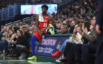 MILWAUKEE, WISCONSIN - FEBRUARY 22:  Joel Embiid #21 of the Philadelphia 76ers waits during the first half of a game against the Milwaukee Bucks at Fiserv Forum on February 22, 2020 in Milwaukee, Wisconsin. NOTE TO USER: User expressly acknowledges and agrees that, by downloading and or using this photograph, User is consenting to the terms and conditions of the Getty Images License Agreement.  (Photo by Stacy Revere/Getty Images)