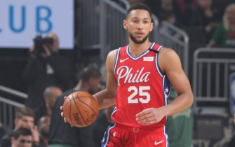 MILWAUKEE, WI - FEBRUARY 22: Ben Simmons #25 of the Philadelphia 76ers handles the ball against the Milwaukee Bucks on February 22, 2020 at the Fiserv Forum in Milwaukee, Wisconsin. NOTE TO USER: User expressly acknowledges and agrees that, by downloading and or using this photograph, user is consenting to the terms and conditions of the Getty Images License Agreement.  Mandatory Copyright Notice: Copyright 2020 NBAE (Photo by Gary Dineen/NBAE via Getty Images)
