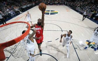 SALT LAKE CITY, UT - FEBRUARY 22: James Harden #13 of the Houston Rockets shoots the ball against the Utah Jazz on February 22, 2020 at vivint.SmartHome Arena in Salt Lake City, Utah. NOTE TO USER: User expressly acknowledges and agrees that, by downloading and or using this Photograph, User is consenting to the terms and conditions of the Getty Images License Agreement. Mandatory Copyright Notice: Copyright 2020 NBAE (Photo by Melissa Majchrzak/NBAE via Getty Images)