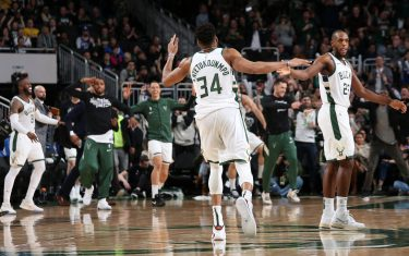 MILWAUKEE, WI - FEBRUARY 22: Giannis Antetokounmpo #34 of the Milwaukee Bucks reacts to a play against the Philadelphia 76ers on February 22, 2020 at the Fiserv Forum in Milwaukee, Wisconsin. NOTE TO USER: User expressly acknowledges and agrees that, by downloading and or using this photograph, user is consenting to the terms and conditions of the Getty Images License Agreement.  Mandatory Copyright Notice: Copyright 2020 NBAE (Photo by Gary Dineen/NBAE via Getty Images)