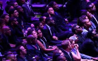 LOS ANGELES, CALIFORNIA - FEBRUARY 24: Kyrie Irving, Draymond Green, Steph Curry and AC Green attend The Celebration of Life for Kobe & Gianna Bryant at Staples Center on February 24, 2020 in Los Angeles, California. (Photo by Kevork Djansezian/Getty Images)