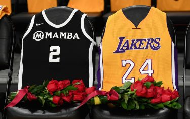 LOS ANGELES, CALIFORNIA - JANUARY 31:  The Los Angeles Lakers honor Kobe Bryant and daughter Gigi by covering the courtside seats they occupied with flowers, Gigi's #2 Mamba jersey and Kobe's #24 jersey before the game against the Portland Trail Blazers at Staples Center on January 31, 2020 in Los Angeles, California. (Photo by Harry How/Getty Images)