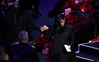 LOS ANGELES, CALIFORNIA - FEBRUARY 24: Vanessa Bryant is helped off stage by Michael Jordan during The Celebration of Life for Kobe & Gianna Bryant at Staples Center on February 24, 2020 in Los Angeles, California. (Photo by Kevork Djansezian/Getty Images)