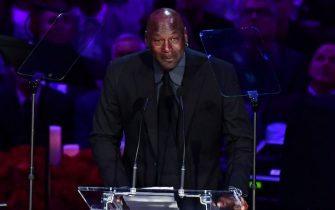 "Retired US basketball player Michael Jordan speaks during the ""Celebration of Life for Kobe and Gianna Bryant"" service at Staples Center in Downtown Los Angeles on February 24, 2020. - Kobe Bryant, 41, and 13-year-old Gianna were among nine people killed in a helicopter crash in the rugged hills west of Los Angeles on January 26. (Photo by Frederic J. BROWN / AFP) (Photo by FREDERIC J. BROWN/AFP via Getty Images)"