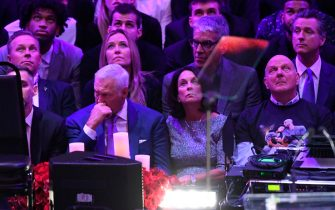 LOS ANGELES, CALIFORNIA - FEBRUARY 24: Jerry West and Steve Ballmer attend The Celebration of Life for Kobe & Gianna Bryant at Staples Center on February 24, 2020 in Los Angeles, California. (Photo by Kevork Djansezian/Getty Images)