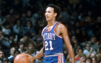 LANDOVER, MD - CIRCA 1975:  Dave Bing #21 of the Detroit Pistons dribbles the ball up court against the Washington Bullets during an NBA basketball game circa 1975 at the Capital Centre in Landover, Maryland. Bing played for the Pistons from 1966-75. (Photo by Focus on Sport/Getty Images) *** Local Caption *** Dave Bing