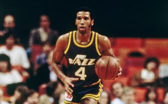 ATLANTA - 1985: Adrian Dantley #4 of the Utah Jazz dribbles against the Atlanta Hawks circa 1985 at the Omni in Atlanta, Georgia. NOTE TO USER: User expressly acknowledges and agrees that, by downloading and or using this photograph, User is consenting to the terms and conditions of the Getty Images License Agreement. Mandatory Copyright Notice: Copyright 1985 NBAE (Photo by Scott Cunningham/NBAE via Getty Images)