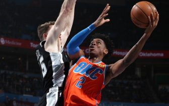 OKLAHOMA CITY, OK - FEBRUARY 23:  Shai Gilgeous-Alexander #2 of the Oklahoma City Thunder shoots the ball against the San Antonio Spurs on February 23, 2020 at Chesapeake Energy Arena in Oklahoma City, Oklahoma. NOTE TO USER: User expressly acknowledges and agrees that, by downloading and or using this photograph, User is consenting to the terms and conditions of the Getty Images License Agreement. Mandatory Copyright Notice: Copyright 2020 NBAE (Photo by Zach Beeker/NBAE via Getty Images)