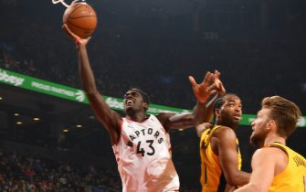 TORONTO, CANADA - FEBRUARY 23: Pascal Siakam #43 of the Toronto Raptors shoots the ball against the Indiana Pacers on February 23, 2020 at the Scotiabank Arena in Toronto, Ontario, Canada.  NOTE TO USER: User expressly acknowledges and agrees that, by downloading and or using this Photograph, user is consenting to the terms and conditions of the Getty Images License Agreement.  Mandatory Copyright Notice: Copyright 2020 NBAE (Photo by Ron Turenne/NBAE via Getty Images)
