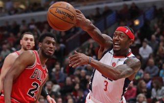 CHICAGO, ILLINOIS - FEBRUARY 23: Bradley Beal #3 of the Washington Wizards slips as he tries to pass against the Chicago Bulls at the United Center on February 23, 2020 in Chicago, Illinois. NOTE TO USER: User expressly acknowledges and agrees that, by downloading and or using this photograph, User is consenting to the terms and conditions of the Getty Images License Agreement. (Photo by Jonathan Daniel/Getty Images)