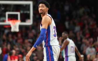 PORTLAND, OREGON - FEBRUARY 23: Christian Wood #35 of the Detroit Pistons reacts in the fourth quarter against the Portland Trail Blazers during their game at Moda Center on February 23, 2020 in Portland, Oregon. NOTE TO USER: User expressly acknowledges and agrees that, by downloading and or using this photograph, User is consenting to the terms and conditions of the Getty Images License Agreement. (Photo by Abbie Parr/Getty Images)