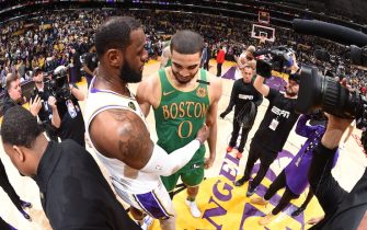LOS ANGELES, CA - FEBRUARY 23: LeBron James #23 of the Los Angeles Lakers talks to Jayson Tatum #0 of the Boston Celtics after the game on February 23, 2020 at STAPLES Center in Los Angeles, California. NOTE TO USER: User expressly acknowledges and agrees that, by downloading and/or using this Photograph, user is consenting to the terms and conditions of the Getty Images License Agreement. Mandatory Copyright Notice: Copyright 2020 NBAE (Photo by Andrew D. Bernstein/NBAE via Getty Images)