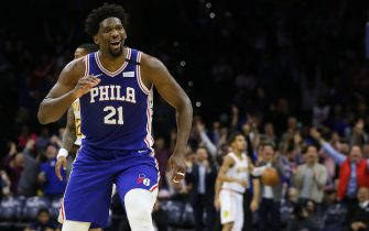 PHILADELPHIA, PA - FEBRUARY 24: Joel Embiid #21 of the Philadelphia 76ers gestures after scoring a three-point basket for his career high 49th point during the second half of an NBA basketball game against of the Atlanta Hawks at Wells Fargo Center on February 24, 2020 in Philadelphia, Pennsylvania. The Sixers defeated the Hawks 129-112. (Photo by Rich Schultz/Getty Images)