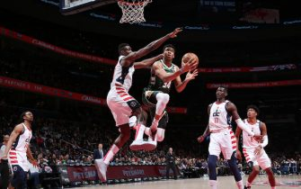 WASHINGTON, DC -  FEBRUARY 24: Giannis Antetokounmpo #34 of the Milwaukee Bucks drives to the basket during the game against the Washington Wizards on February 24, 2020 at Capital One Arena in Washington, DC. NOTE TO USER: User expressly acknowledges and agrees that, by downloading and or using this Photograph, user is consenting to the terms and conditions of the Getty Images License Agreement. Mandatory Copyright Notice: Copyright 2020 NBAE (Photo by Ned Dishman/NBAE via Getty Images)