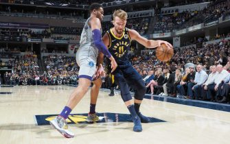 INDIANAPOLIS, IN - FEBRUARY 25: Domantas Sabonis #11 of the Indiana Pacers handles the ball against the Charlotte Hornets on February 25, 2020 at Bankers Life Fieldhouse in Indianapolis, Indiana. NOTE TO USER: User expressly acknowledges and agrees that, by downloading and or using this Photograph, user is consenting to the terms and conditions of the Getty Images License Agreement. Mandatory Copyright Notice: Copyright 2020 NBAE (Photo by Ron Hoskins/NBAE via Getty Images)