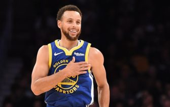 LOS ANGELES, CA - OCTOBER 14: Stephen Curry #30 of the Golden State Warriors smiles during a pre-season game against the Los Angeles Lakers on October 14, 2019 at STAPLES Center in Los Angeles, California. NOTE TO USER: User expressly acknowledges and agrees that, by downloading and/or using this Photograph, user is consenting to the terms and conditions of the Getty Images License Agreement. Mandatory Copyright Notice: Copyright 2019 NBAE (Photo by Adam Pantozzi/NBAE via Getty Images)